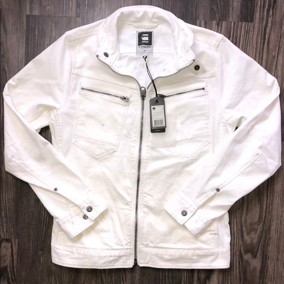 732ba16c2a506 G-Star Raw Men s Arc Zip 3D White Denim Jacket
